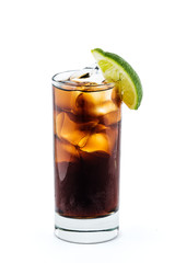 Long Island Iced Tea cocktail isolated on white background