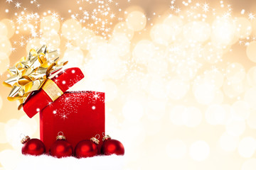 Magical Christmas Gift Background With Red Baubles