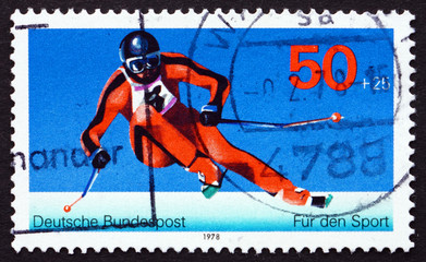 Postage stamp Germany 1978 Giant Slalom, Winter Sport
