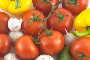 Many assorted ripe vegetables closeup as background