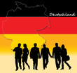 German people in front of the map of Germany