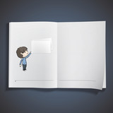 Boy holding an empty business card printed on book.