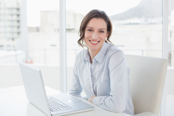 Smiling young businesswoman with laptop in office