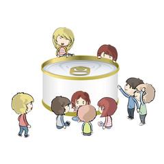 Kids around a can of tuna