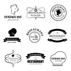 Restaurant Labels Set - Isolated On White Background - Vector