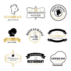 Restaurant Labels Set - Isolated On White Background