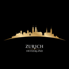 Zurich Switzerland city skyline silhouette black background