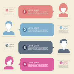 people icons with chat speech bubbles infographic concept