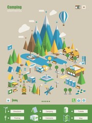 Camping info elements, vector background