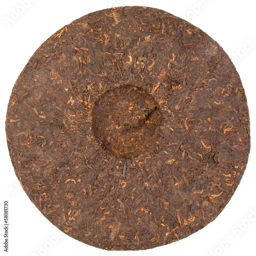 Pressed Chinese puer tea isolated on a white background.