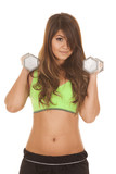 fitness green sports bra weights by shoulders