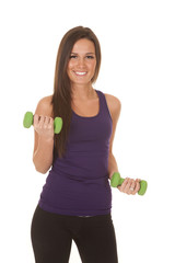 Woman purple tank fitness curl