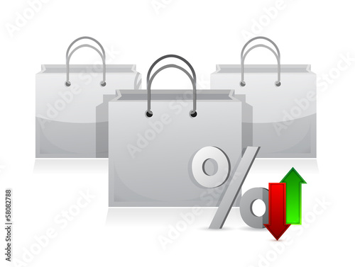 shopping bags and discount percentage symbol