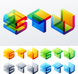 Colored isometric text. Cube monospace characters. S T U