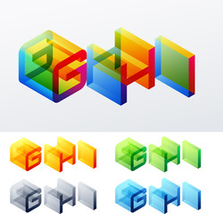 Colored isometric text. Cube monospace characters. G H I