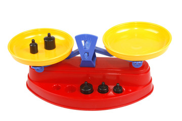 Toy scales with weights white background