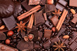 Background from slices of chocolate, coffee, nuts and spices