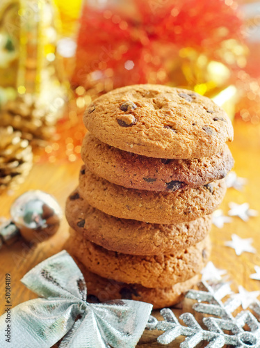 Cookies for christmas on the wooden board
