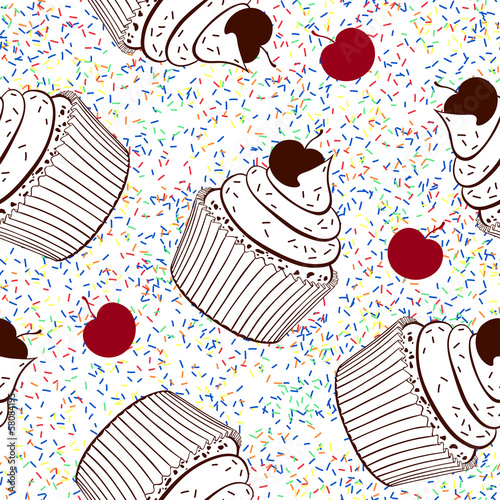 Sticker Seamless background with cupcakes