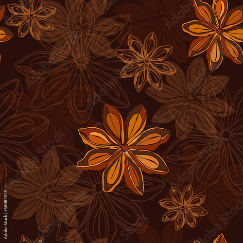 Seamless pattern  with star anise.