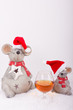 Cognac Glas mit Weihnachtsmäusen