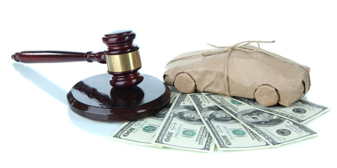 Gavel,model of car and money isolated on white