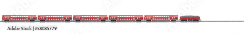 loco model with red passenger express wagons