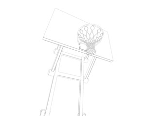 Basketball court. Wire frame