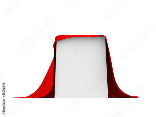 White box covered with red cloth