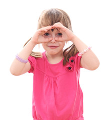 Children looking through imaginary binoculars