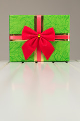 Beautiful Christmas gift box with reflection