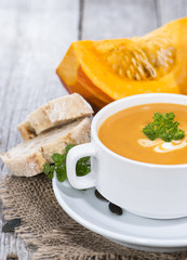 Fresh made Pumpkin Creme Soup