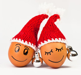 funny lovely  eggs in winter santa hat