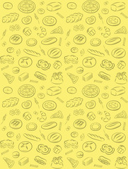Vector pattern of seamless pattern with bakery products