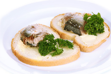 Tasty sandwiches with scomber, close-up