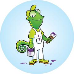 Chameleon house painter mascot
