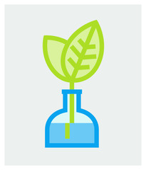 Vector illustration of vase with growing up young leaves