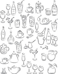 Vector illustration of drinks and beverages