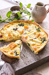 quiche with asparagus and salmon