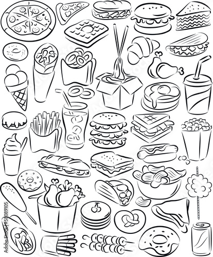 Fototapeta Fast food set
