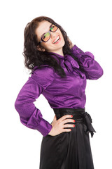 beautiful smiling brunette woman wearing shirt, skirt and glasse