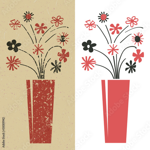 bunch of flowers in red and black grunge and plain