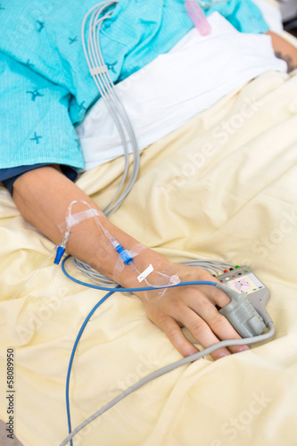 Pulse Oximeter Attached To Patient's Finger