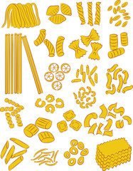 vector illustration of different types of pasta