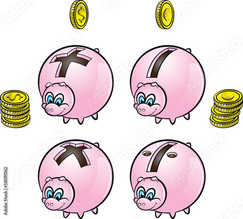 Piggy banks with four arithmetical operations signs