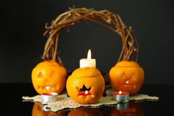 Festive composition with lanterns  and candles