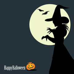 Halloween background with witch silhouette