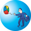 Businessman playing with pie chart yoyo