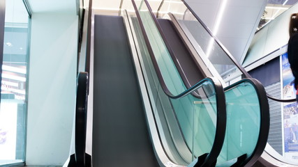 Pair of escalators in a building interior