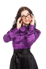 beautiful smiling brunette woman wearing shirt, skirt and glasse